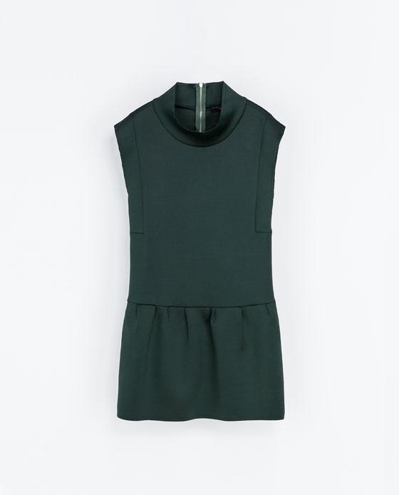 zara funnel neck green dress