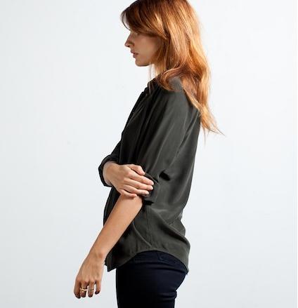 everlane silk blouse pine