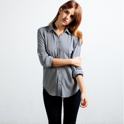 everlane silk blouse slate