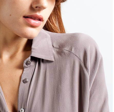 everlane silk blouse pointed collar truffle