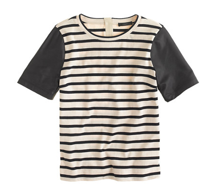 j crew leather sleeve top in stripe