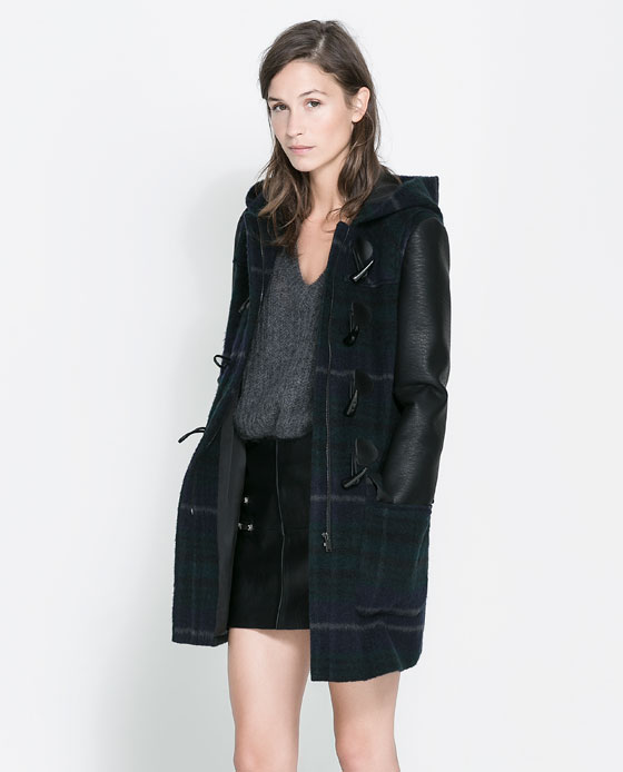 Zara plaid coat leather sleeves