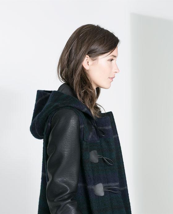 zara plaid leather sleeves coat