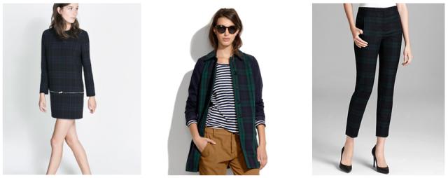 plaid fashion trend 2013, theory pants, zara dress, madewell jacket