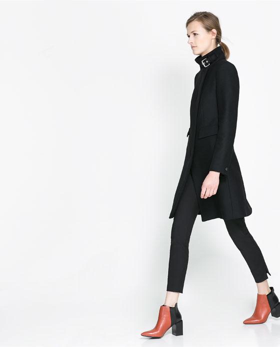 zara zip high neck coat