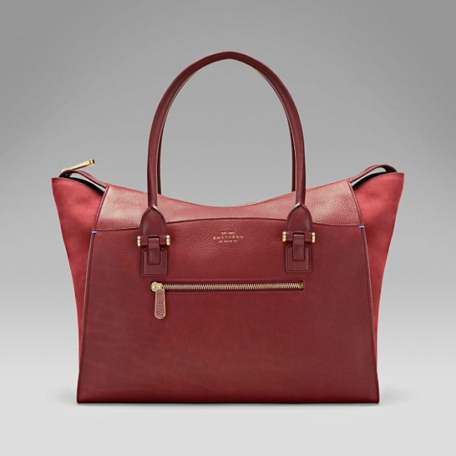 smythson eliot large tote venetian red