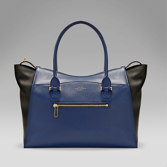 smythson large tote bag midnight blue and black