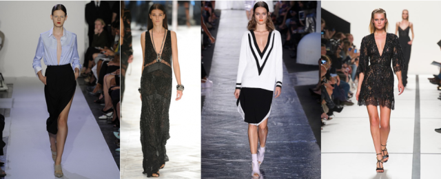 deep v neckline spring 2014 fashion week elie saab altuzarra rag and bone cavalli