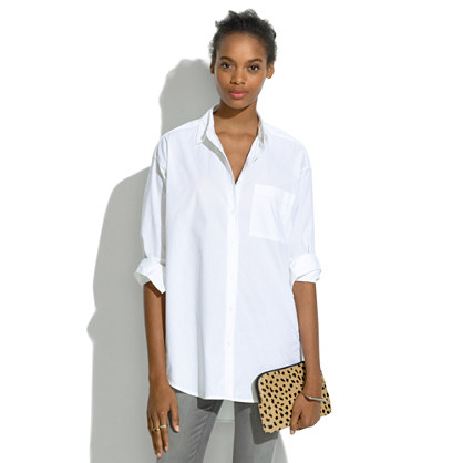madewell white oversized button-down shirt