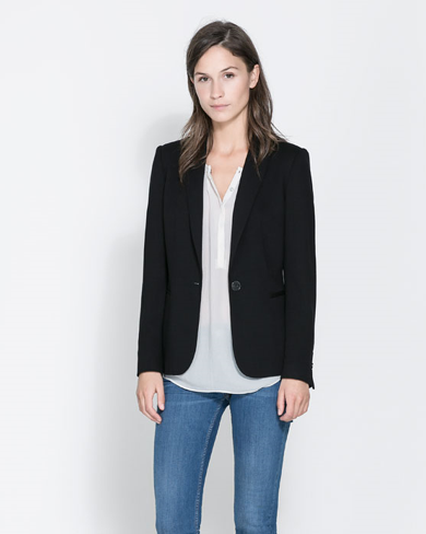 zara fabric blazer black