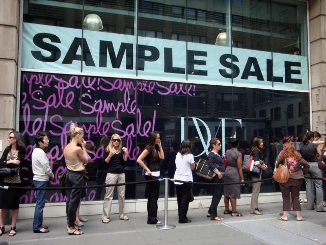 sample sale dvf line saving money fashion