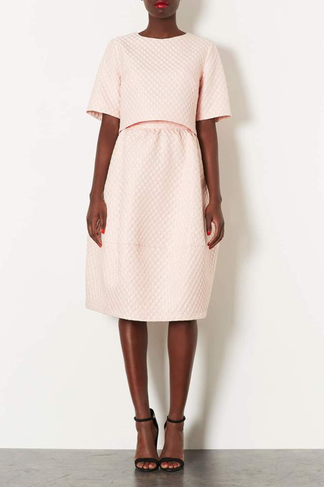 topshop pink bubble tee and skirt