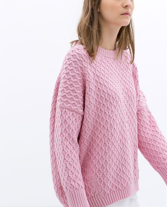 zara cable stitch oversize pink knit sweater