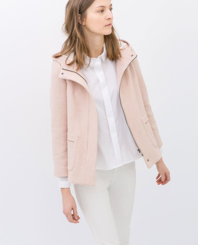 zara short wool jacket with hood pink