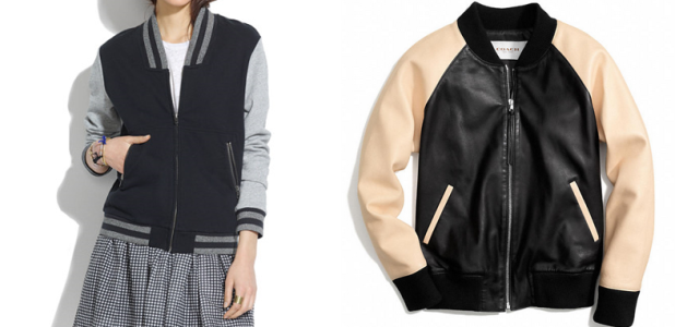 madewell coach leather varsity jacket trend