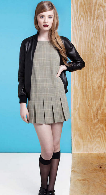 dolores haze fall 2014 pleated plaid dress