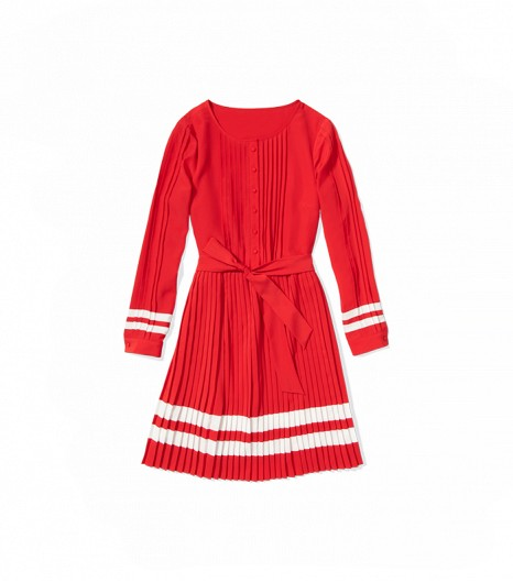 zooey deschanel tommy hilfiger pleat dress
