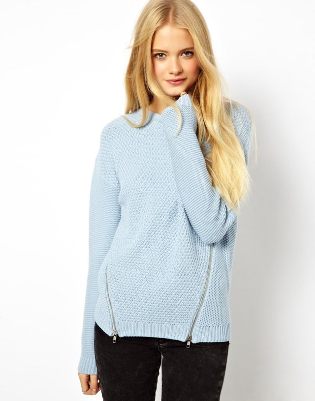 asos baby blue sweater side zip detail