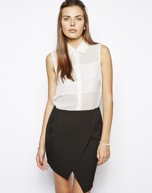 asos sheer panel white top