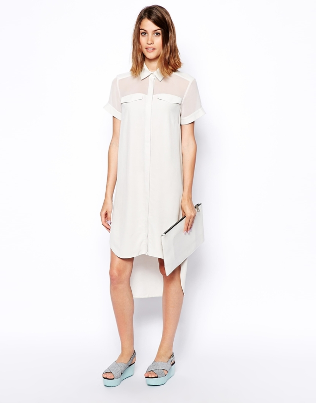 asos sheer panel white dress