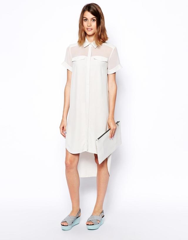 asos sheer panel white dress
