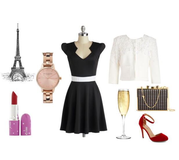 modcloth vivacious and vibrant dress midnight in paris lbd black dress