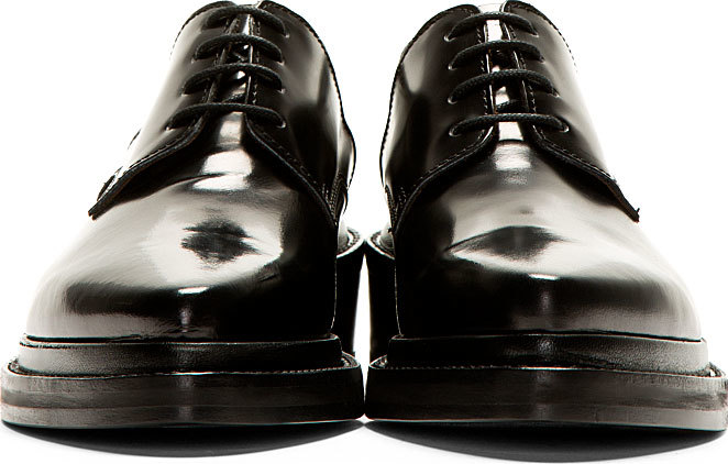 acne studios black pointed lark derbys