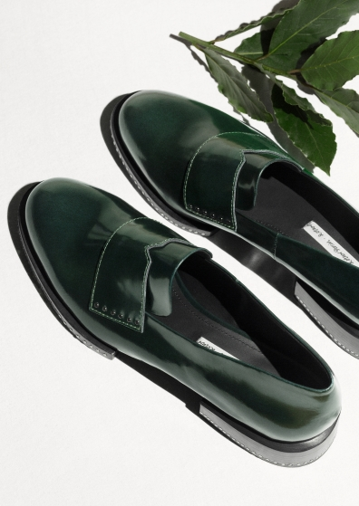 & other stories green studded loafers