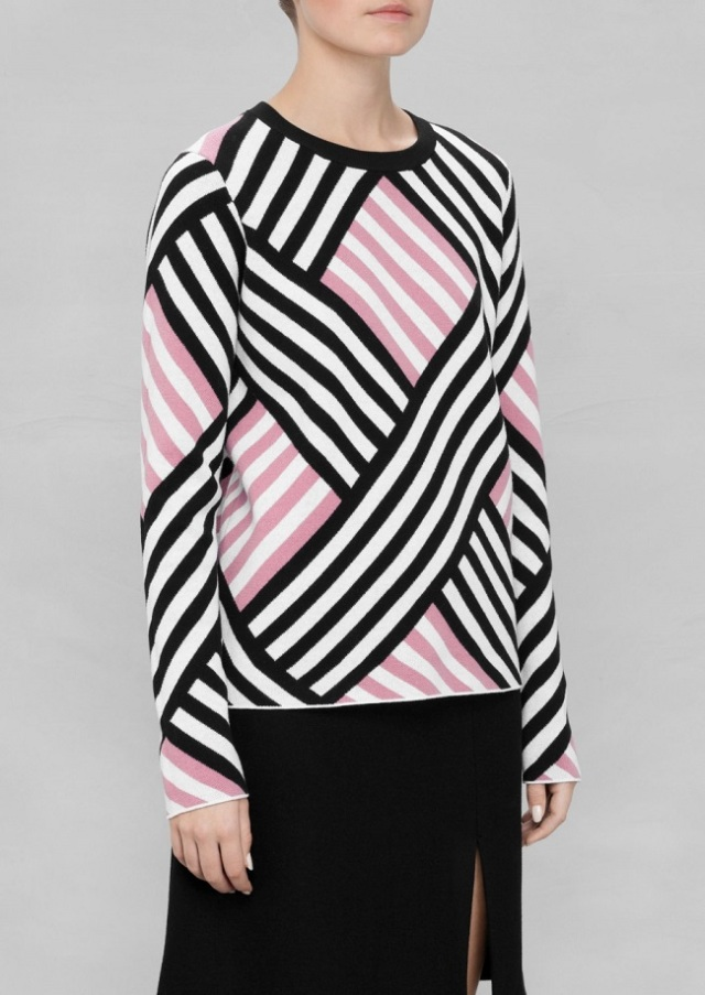 and other stories pink and black grid sweater