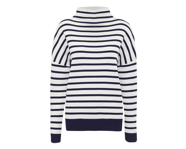 whistles stripe funnel neck sweater